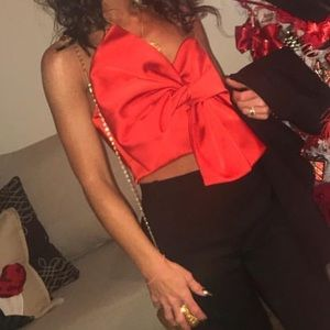 River island red satin cropped bow top